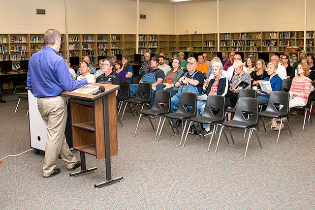 Woodville ISD Superintendent Glenn Conner speaks to residents at a Public Hearing held April 14. (Jim Powers Photo)
