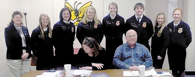 Shown are FFA Advisor Melissa Bendy and student officers Heather Choate, Jaci Davis, Laken Read, Maddie Read, Levi Watts, Kyrstin Jobe and Timber Wright.