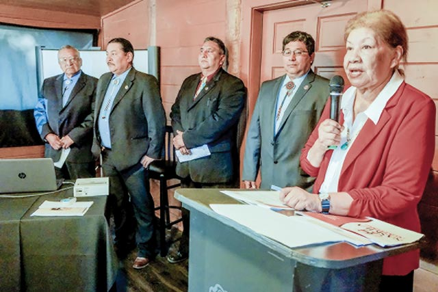 Alabama-Coushatta Tribal Officals speak last week as two Chambers of Commerce came together during a Buisness Builders Breakfast last week. (Kelli Barnes Photo)