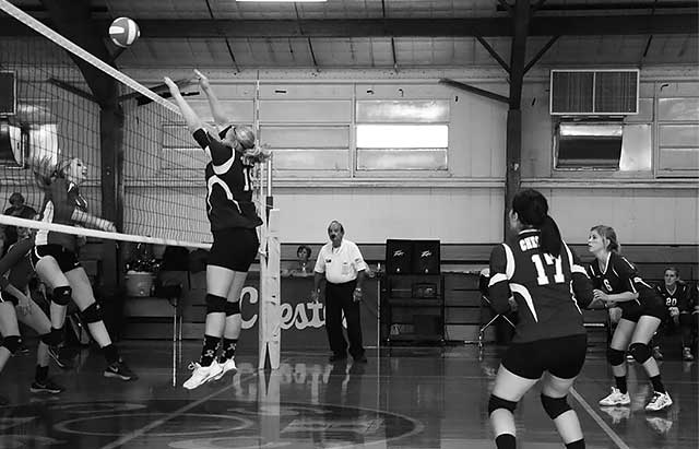 Laken Read makes the block for the Lady Jackets Wendy Whitworth Photo