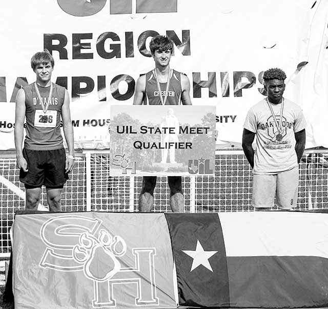Cord Neal from Chester won the gold in the triple jump at the Region 4 track meet in Huntsville last weekend.  Neal earned a trip to Austin to compete in the state meet on May 11-13.