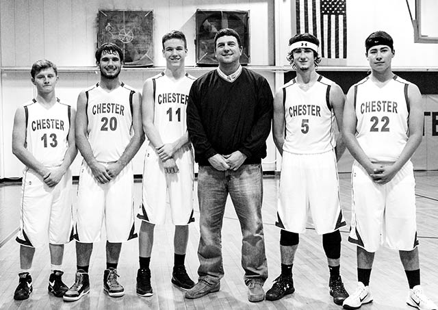 Yellowjacket senior basketball players were honored prior to their last home game of the year.  Pictured (l to r):  Junior Henson, Colten Martin, Clay Thomson, Coach Cory Hines, Cord Neal, and Bailey Goins.