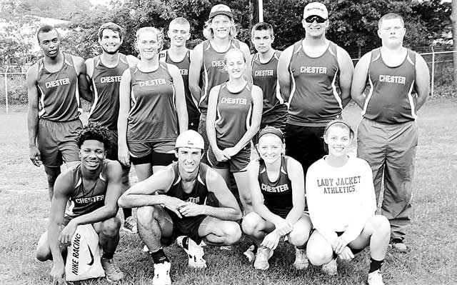 The Yellowjacket track teams did a great job competing at the area track meet on April 20.  Shown, (Bottom row, l to r):  Jaqualin George, Cord Neal, Annie Rayburn, Amory Parker.  (Top row, l to r):  Michael Castleberry, Colten Martin, Donna Martin, Dane Barnes, Cade Parrish, Faith Loughner, Caleb Sittig, J.T. Martin, Dakota Rucks. Not pictured was Danique Davis.