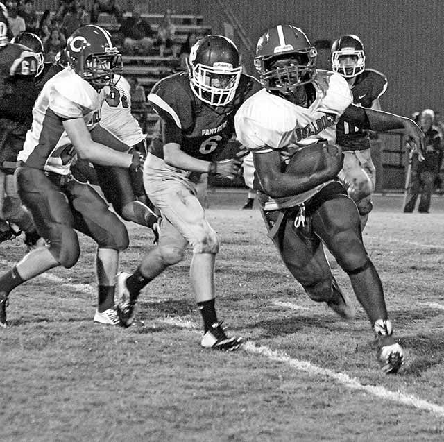 Junior Running Back Jermany Wooten runs for a 60-yard gain in Friday night's game against the Normangee Panthers. (Colmesneil Yearbook Staff Photo)
