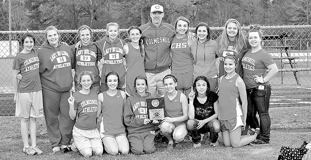 Colmesneil Lady Dogs 2014 junior high girls District 24-A track and field champions (Back Row L to R: Meg Standley, Bethany Gilbert, Brooke Hlavaty, Emilee James, Lainey Spradlin, Head Coach Patrick Sluga, Nature Jackson, McKayla Marshall, Lindsey Dobbins, and Lindy Zeller; Front Row L to R: Gabby Reynolds, Rylee Smith, Jackie Hughes, Jenna Wolfford, Shy Anne McClendon, and Leah White. Not Pictured: Grace Eddins, Rebecca Marino, Mylee Powell, Morgan Bruton, Erika Vargas, Sara England, Jordan Givens, Becca Schulze, Gabby Murray, Michaela' Langston, and Nikki McNeely)