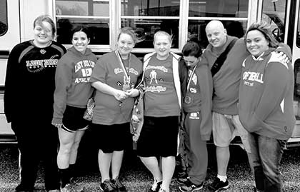 Colmesneil Lady Dogs Powerlifting Regional Qualifiers: (L to R) Krista Harris, Merrick Graham, Kim Knighten, Magen Allen, Bayleigh Thedford, Coach Paul Veirs, and Kristy Veirs.