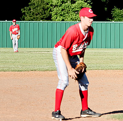 Zach Costellow guards third base while Bryce Rains waits in the outfield. (Chance Bailey Photo)