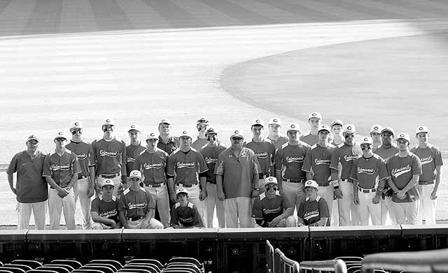 The 2014 Colmesneil Bulldogs baseball team on the field at Minute Maid Park before taking on district rival West Sabine.