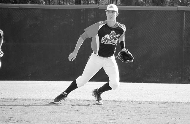 Kelby fielding a ball at National Championship in Atlanta.