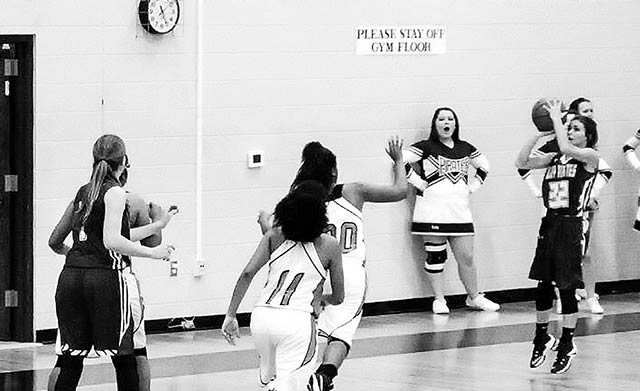 Kenzie Hatton  shoots one for the Lady Pirates in their game against Prairies Lee High.