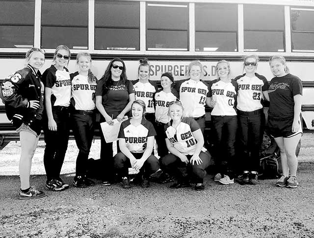 Spurger Softball  (Left to right: Destiny Moore, Kate Loechel, Jamie Shumake, Coach Amber Moore, Karley Wood, Jordan McFarland, Angel Kennedy, and Breeann Ratcliff. Front Row: Hailee Hyatt and Samantha Brinkley)