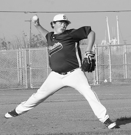 Cody Winkle throws out a pitch against Sabine Pass last season. (Emily Waldrep Photo