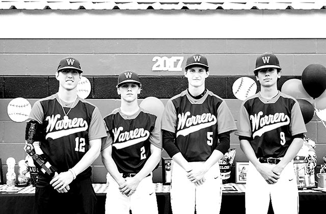 Warren seniors (left to right) – Kelby Weyler, Austin Scarborough, Ty Choate, and Hunter Welch. (Doug Glosson Photo)