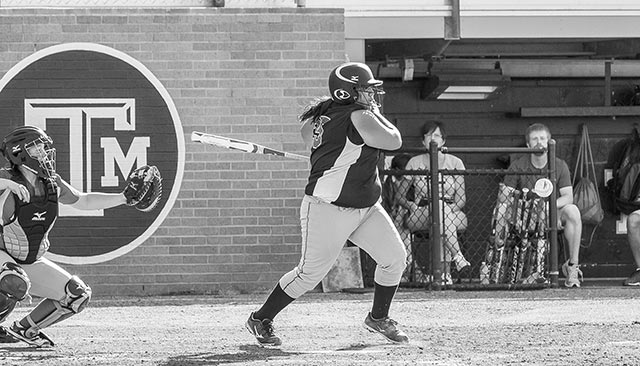 Morgan Poncho knocks in two tuns in the bottom of the first inning Saturday. (Photo Courtesy Bob Boykin Photography)