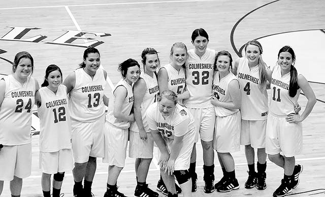 2013-14 Play-off bound Colmesneil Lady Dogs (L to R: Krista Harris, Madison Newcomb, Destany Fawcett, Bayleigh Thedford, Alexis Follmar, Magen Allen, Haleigh Belt, Taylor Barker, Hannah Guillory, Treasure Jackson, and Merrick Graham) ( Colmesneil Yearbook photo )
