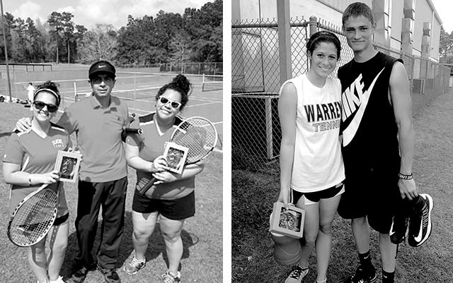 Photo Left - Girl's doubles division first place winners Presley Parker and Taylor Bell  from Colmesneil with their coach, Alejandro Tapia. Photo Right - Kaelin Miller and Mark Blackshear from Warren take home second in girl's singles division and first in boy's singles division.