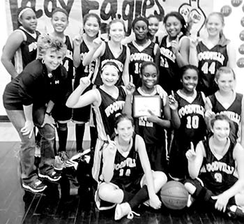 Seventh grade girls District Champs-  3 Lucy Homnoik, 4 Maddie Cloud, 5 Madison Lane, 10 Kaiya Castle, 12 Yasmeika Douglas, 14 Kaitlyn Odom, 15 Abby Villa, 21 Keyonna Paire, 22 Shayla Williams, 23 Hallee Houghes, 24 Linda Perkins, 25 Tamera Evans, 44 Jacey Spell, and 45 Shakera Mitchell.