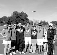 Woodville's tennis team:  L-R. Octavia Tapia, Justin Livingston, Cameron Coker, Caleb Dinger, Cameron Hutton, Aureanna Stacey and  Coach Sergio Ramos.