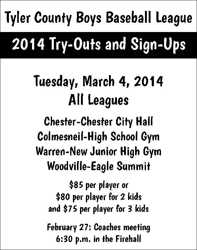 Tyler County Youth Baseball League Signup March 4